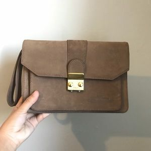 Handbags - Dino Bassi Brown Combination Clutch Bag